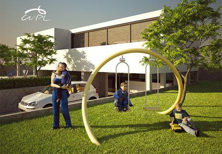 Modern Swing Set Playground Backyard Landscaping Backyard