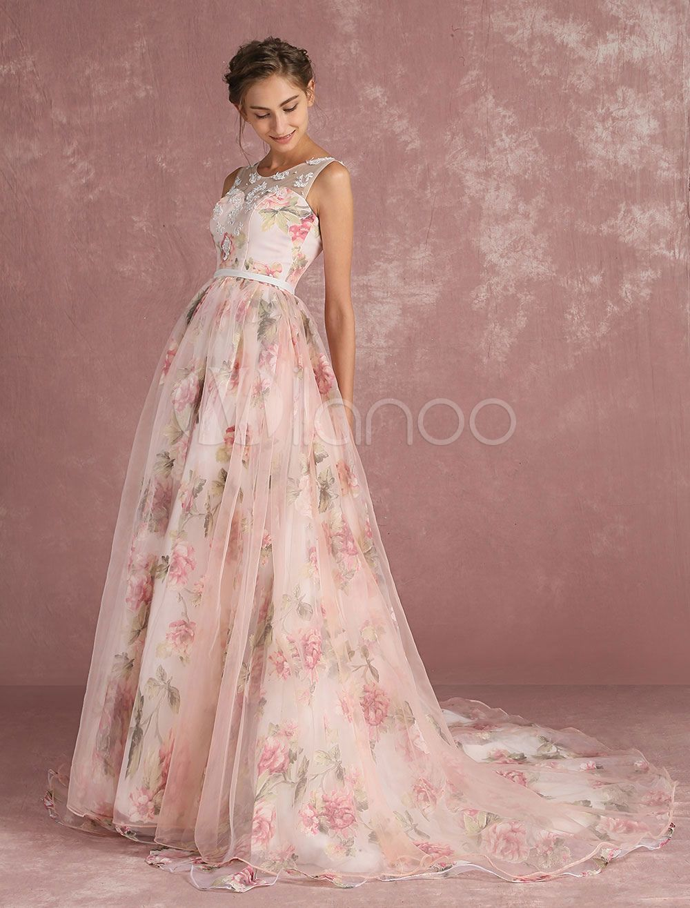 Pink Prom Dresses 2018 Long Floral Print Organza Pageant Dress ...