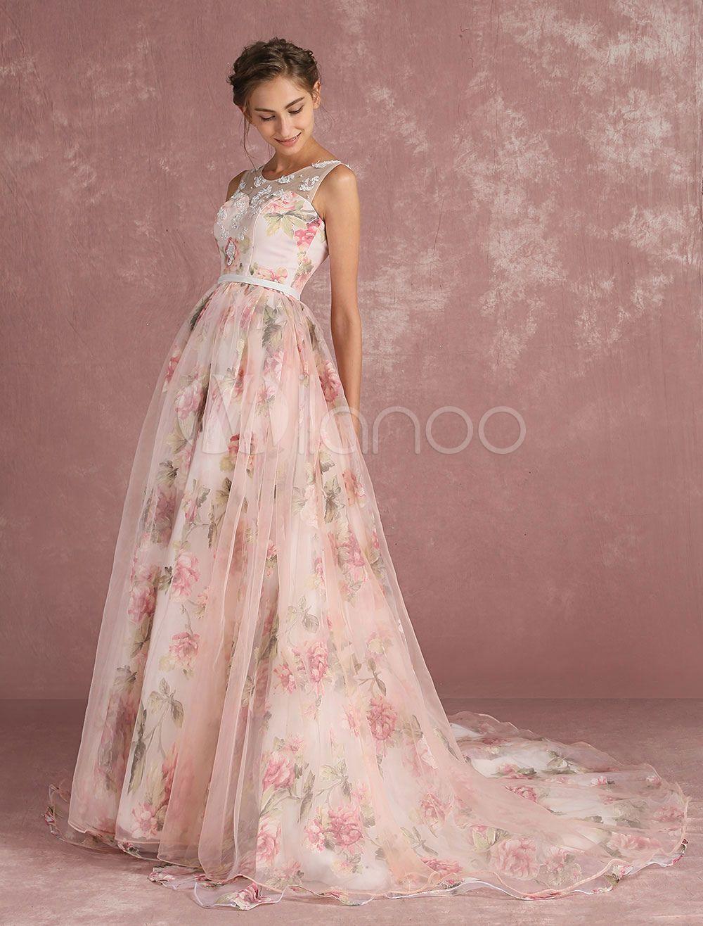 Vestido de Baile Rosado ligero con escote ovalado De banda de encaje ...