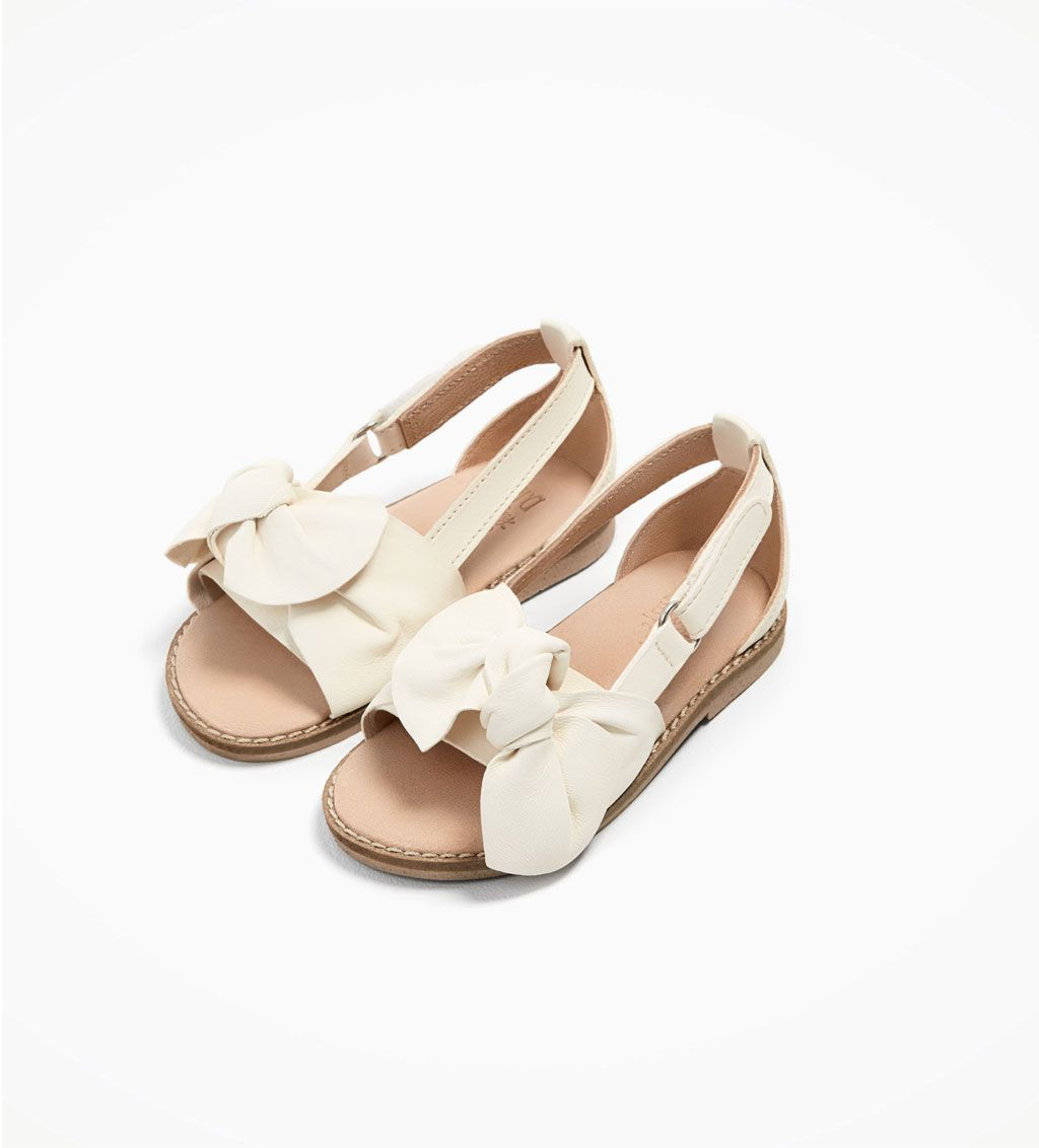 Leather Sandals With Bow Shoes And Bags Baby Girl 3 Months 4 Years Kids Zara Italy Sapatos Zara Sapatinho De Neném