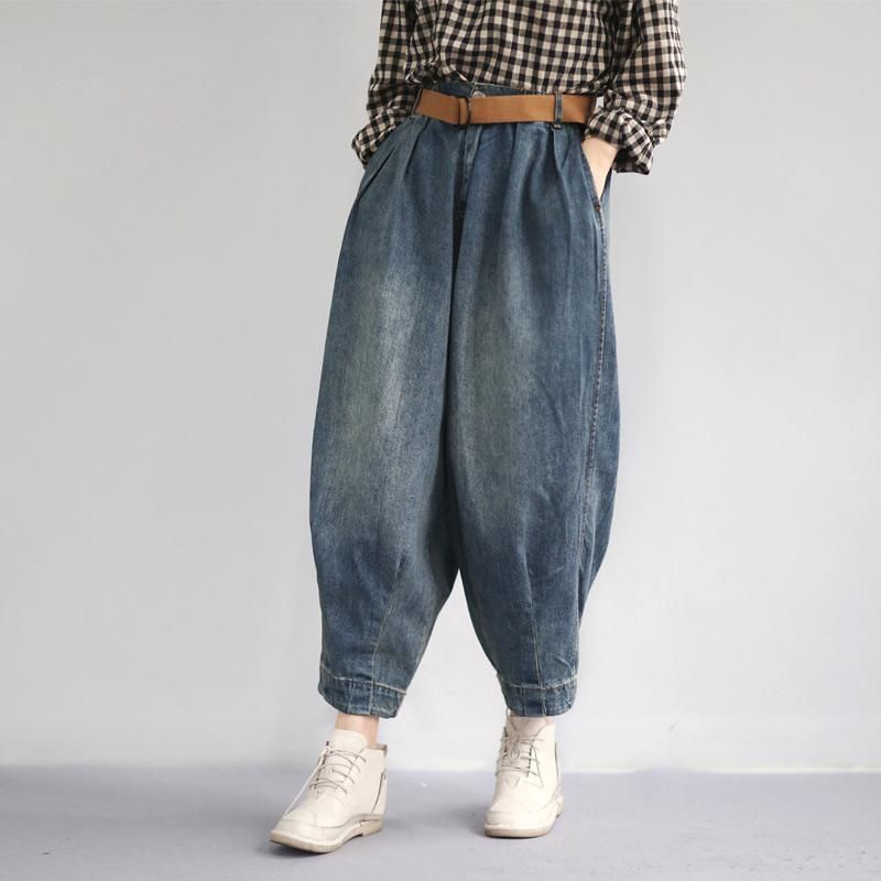 4afd5ba8575f8 Women Spring Vintage Solid Loose Turnip Pants Jeans in 2019 ...