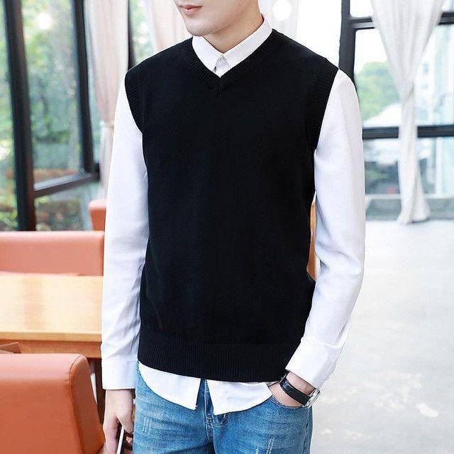 ZEESHANT XXXL Mens' Pullover Sweater Vest V-Neck Sweater Cotton ...