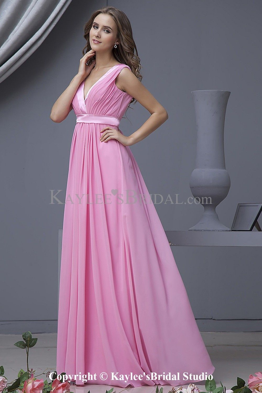 Kaylees Bridal - Chiffon V-Neckline Floor Length Column Bridesmaid ...