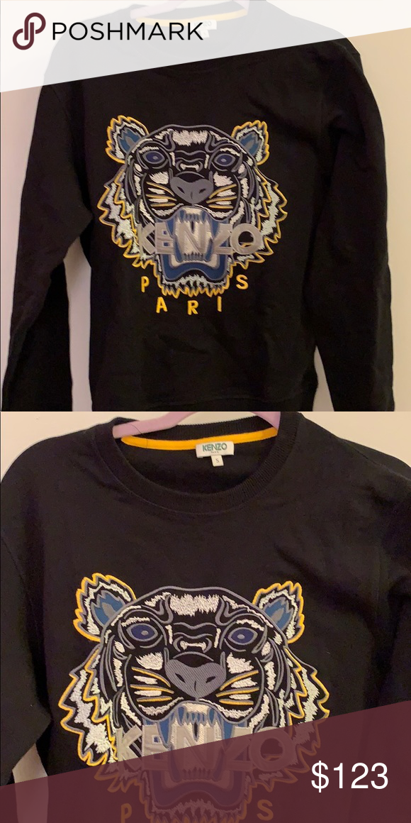 Kenzo men's yellow and black tiger sweatshirt Unique kenzo