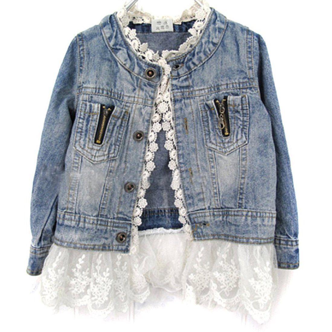Urparcel Girls Jacket Denim Jean Lace Outerwear Overcoat Cowboy Coat Collarless Jean Jacket For Girls Long Sleeve Denim Jacket Girls Denim Jacket [ 1100 x 1100 Pixel ]