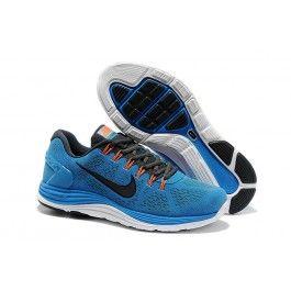 best service 251ef 48613 Nyeste Nike LunarGlide+ 4 Leather Blå Sort Hvid Herre Skobutik   Køligt Nike  LunarGlide+ 4 Leather