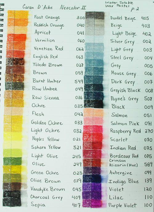 Caran D Ache Neocolorii 126 Color Chart Wetcanvas Color Chart