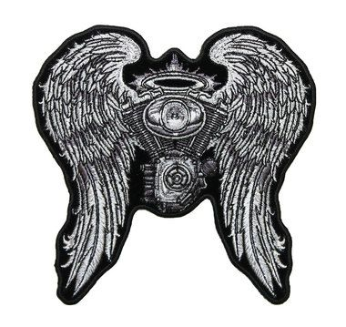 Embroidered Ladies Asphalt Angel Embroidered patch with wings