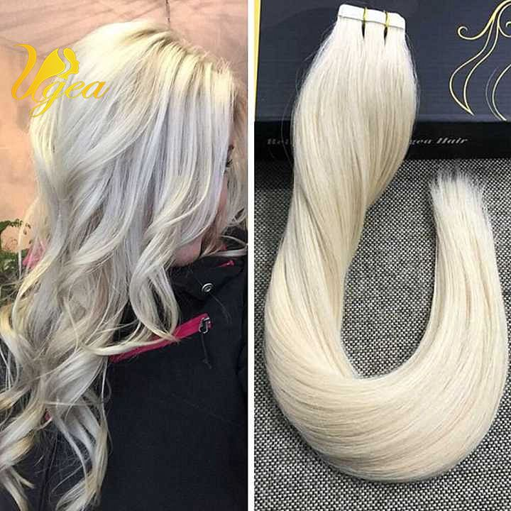Brazilian Solid Color Platinum Blonde Tape In Remy Real Human Hair