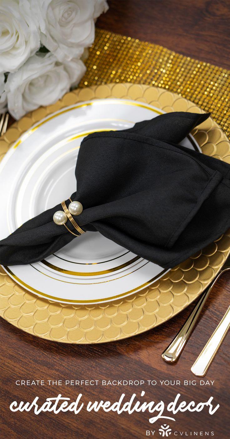Wedding decorations black and gold  Mediterranean Scale Round