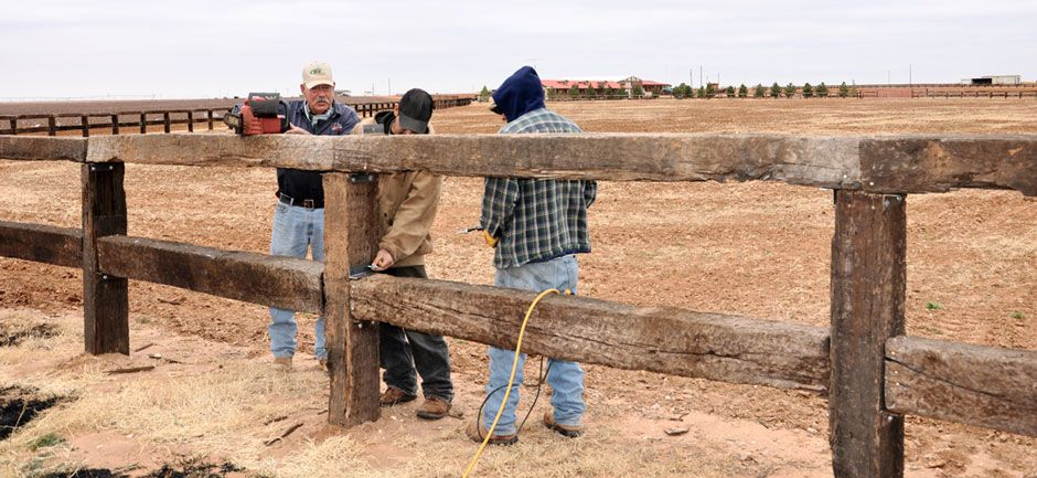 Fence Being Built From Railroad Ties Lamesa Reporter