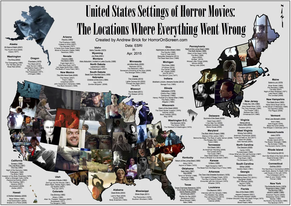 A US Map Showing Where Horror Movies Took Place movies