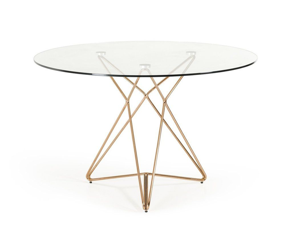 Contemporary dining table bases  Modrest Ashland Modern Glass u Rosegold Round Dining Table  Round