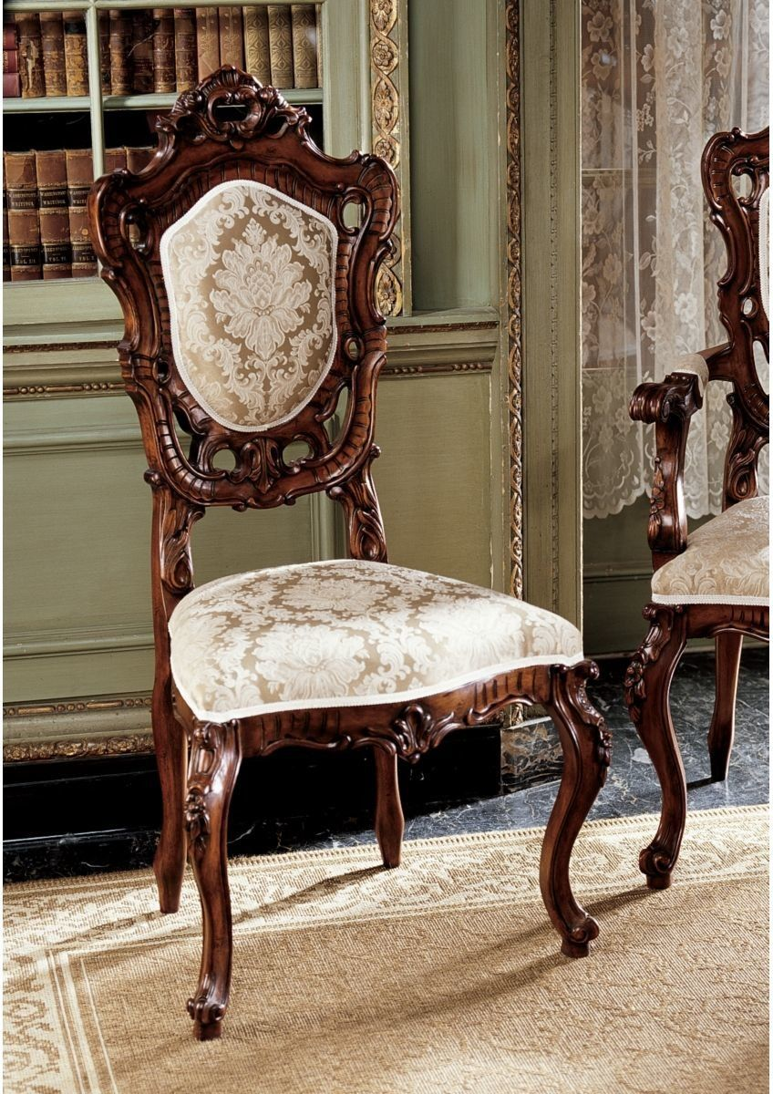 Toulon French Rococo Fabric Side Chair Rococo Chair Fabric