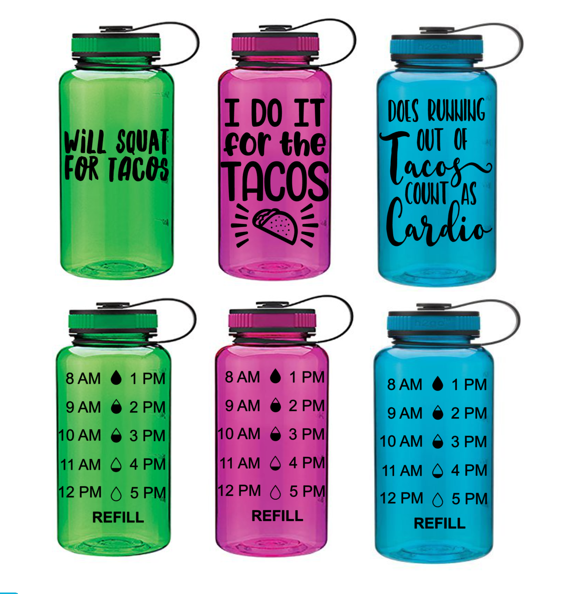 Taco Themed Water Bottles Water Bottle Decal Funny Water Bottle Bottle