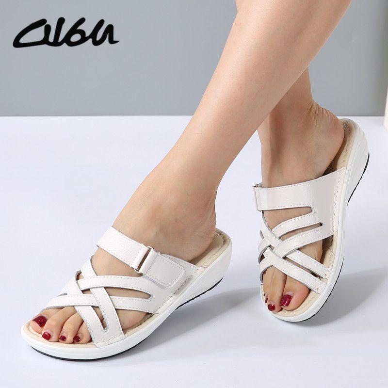 Aliexpress.com  Comprar O16U mujeres Zapatos de las sandalias de Cuero  Sandalias planas de 813075ba3a07
