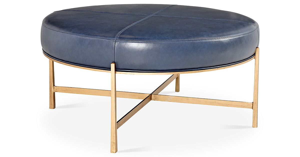 Rho Cocktail Ottoman, Gold/Navy | One Kings Lane | Currently ...