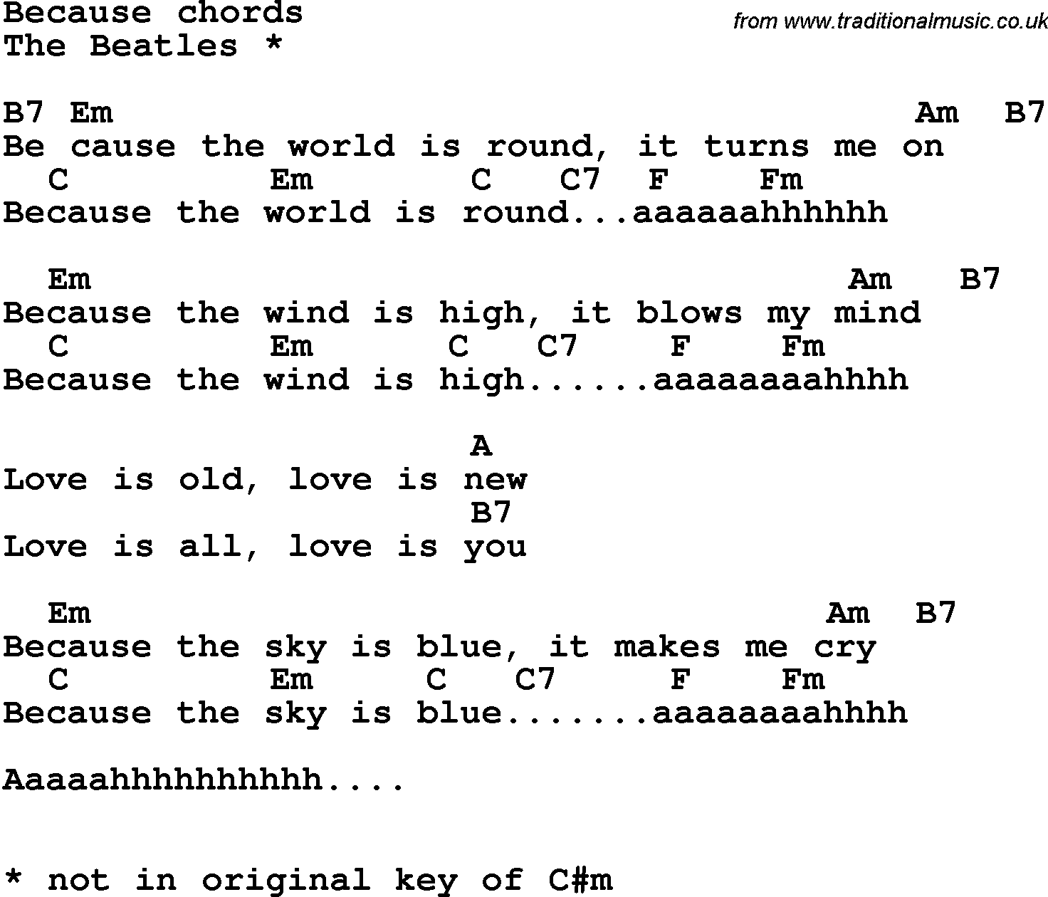 Song Lyrics With Guitar Chords For Because The Beatles Beautiful