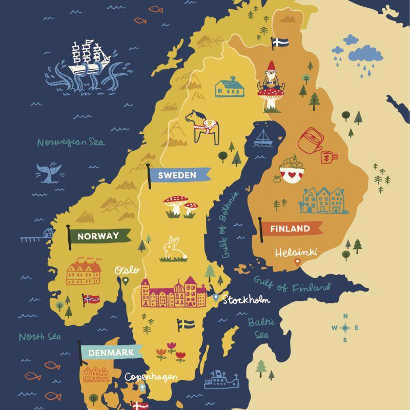 Scandinavian Gatherings Scandinavia Illustrated Map Nordic Countries