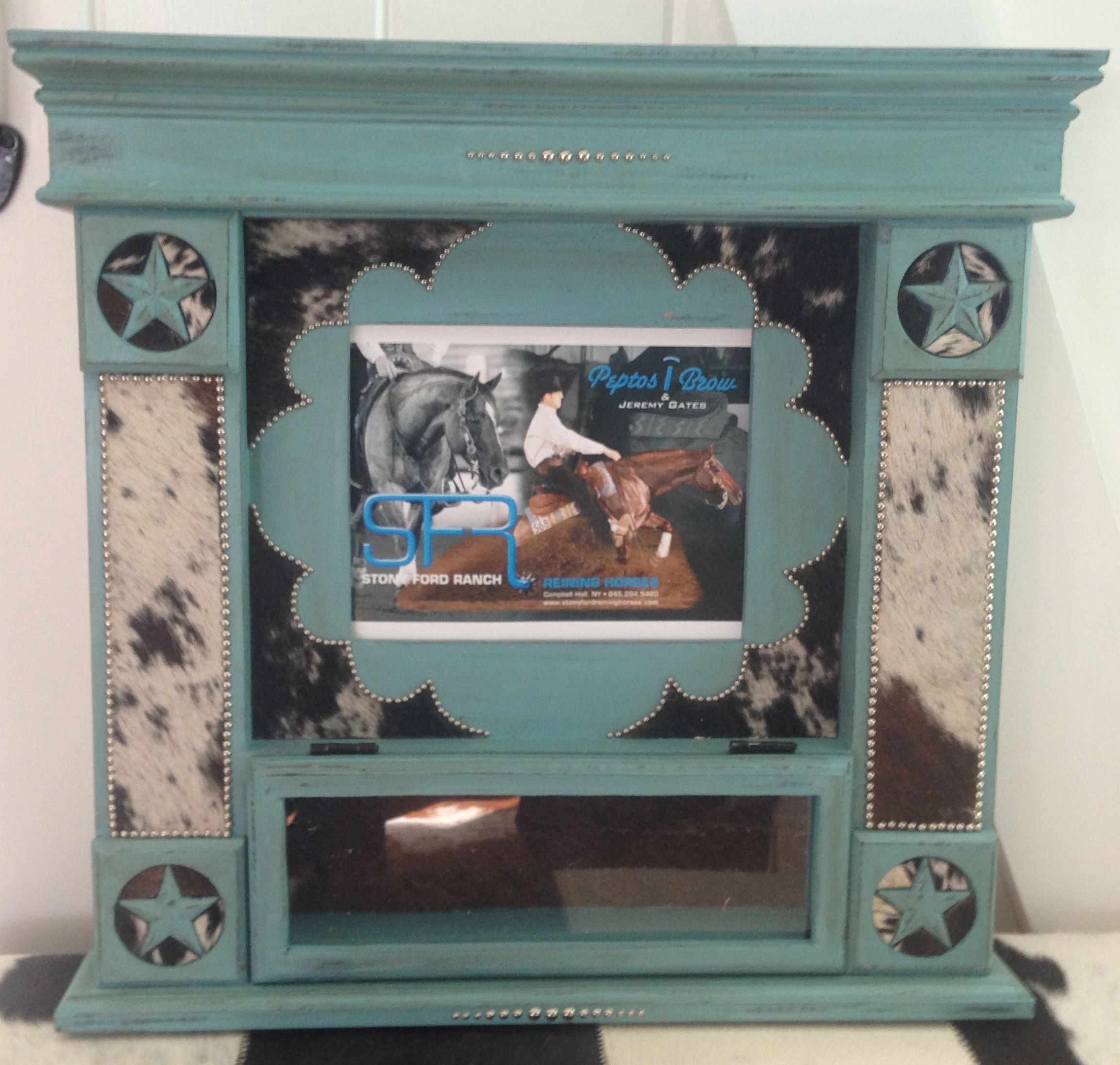 Trophy belt buckle case. 8x10 picture frame with cowhide & western ...