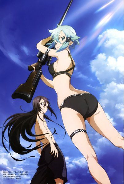 Anime picture 1944x2893 with  sword art online a-1 pictures kirigaya kazuto asada shino long hair tall image short hair highres blue eyes light erotic black hair blue hair sky cloud (clouds) scan official art girl male weapon swimsuit