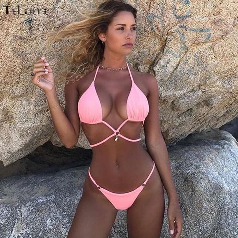d42a8e48d9f8d 2018 New Brazilian Bikini Swimwear Women Swimsuit Bandage Bikinis Women  Bathing Suit Halter Top Biquini Summer Beach Wear Female