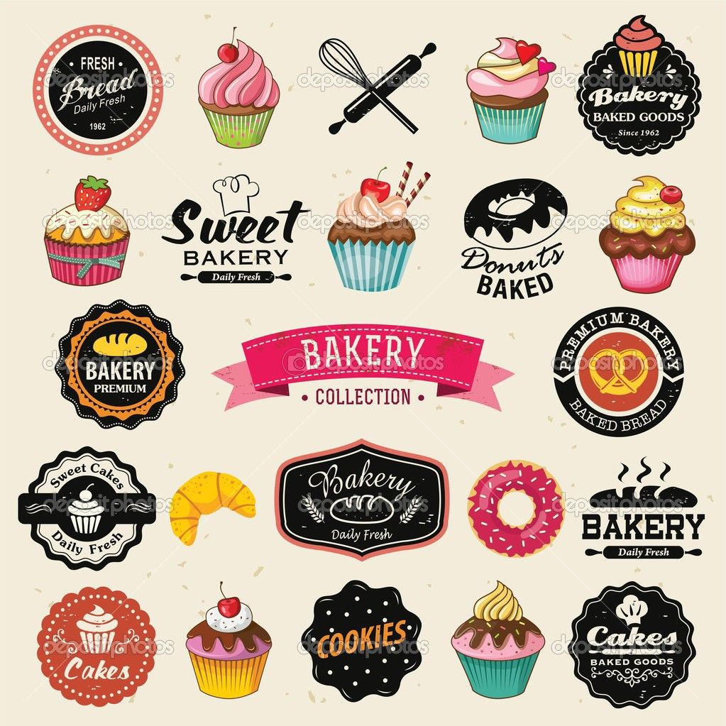 Collection of vintage retro bakery badges and labels hand lettering style with cupcakes croissants