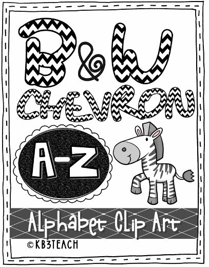 Alphabet Letters Clipart Black Chevron Zebra Set Uppercase AZ