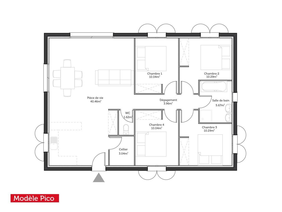 Plan maison modele droit t5 pico95m2 1200 900 for Plan maison simple 4 chambres