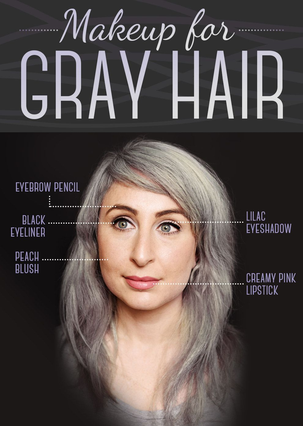 Here Is Every Little Detail On How To Dye Your Hair Gray Grey Hair And Makeup Grey Hair Eyebrows Grey Hair Dye