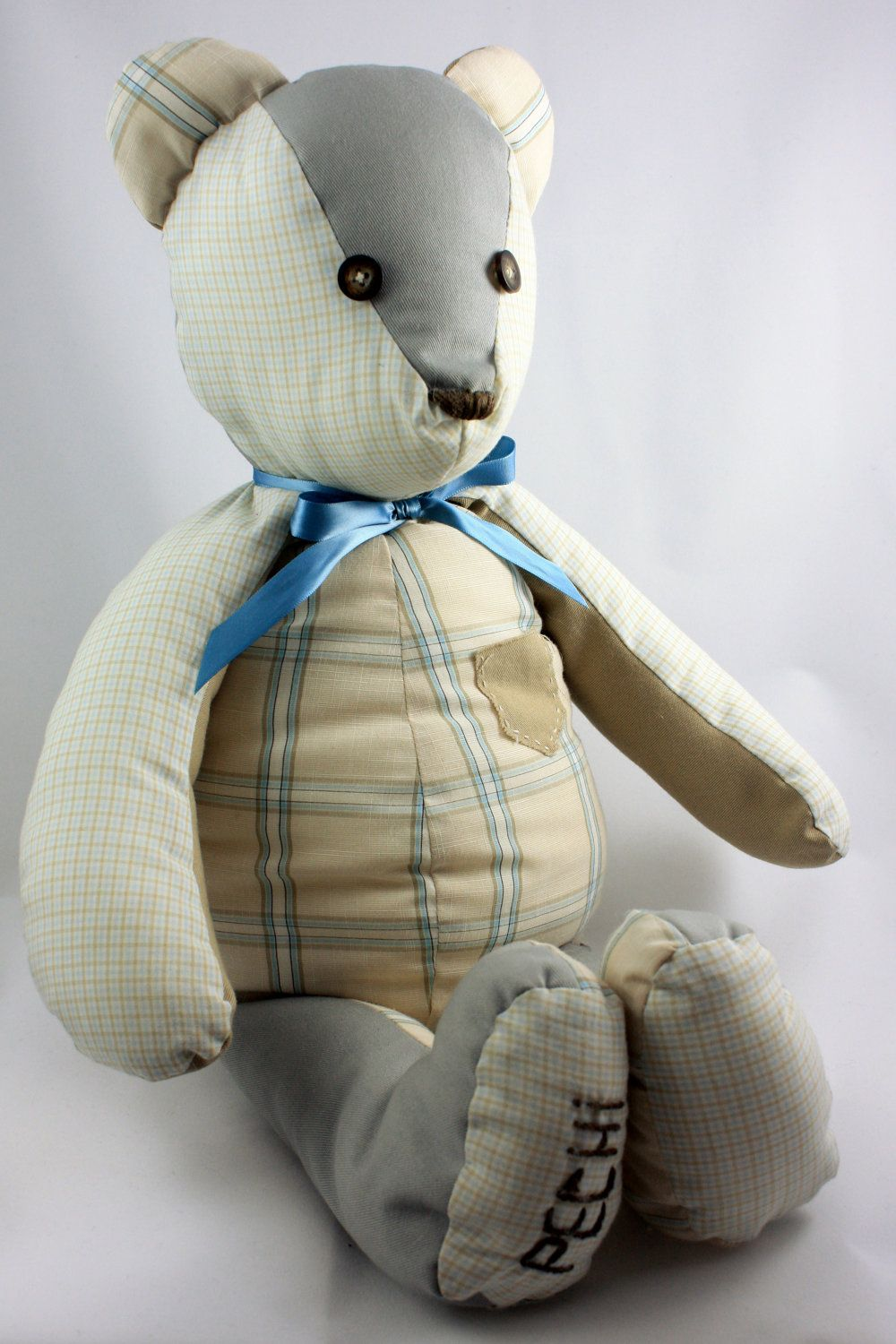 Memory bear created from your own fabric or clothing of choice can