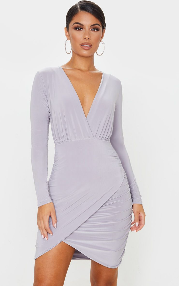 Ice Grey Slinky Plunge Long Sleeve Ruched Bodycon Dress Ruched Bodycon Dress Bodycon Dress Plunge Dress Long [ 1180 x 740 Pixel ]