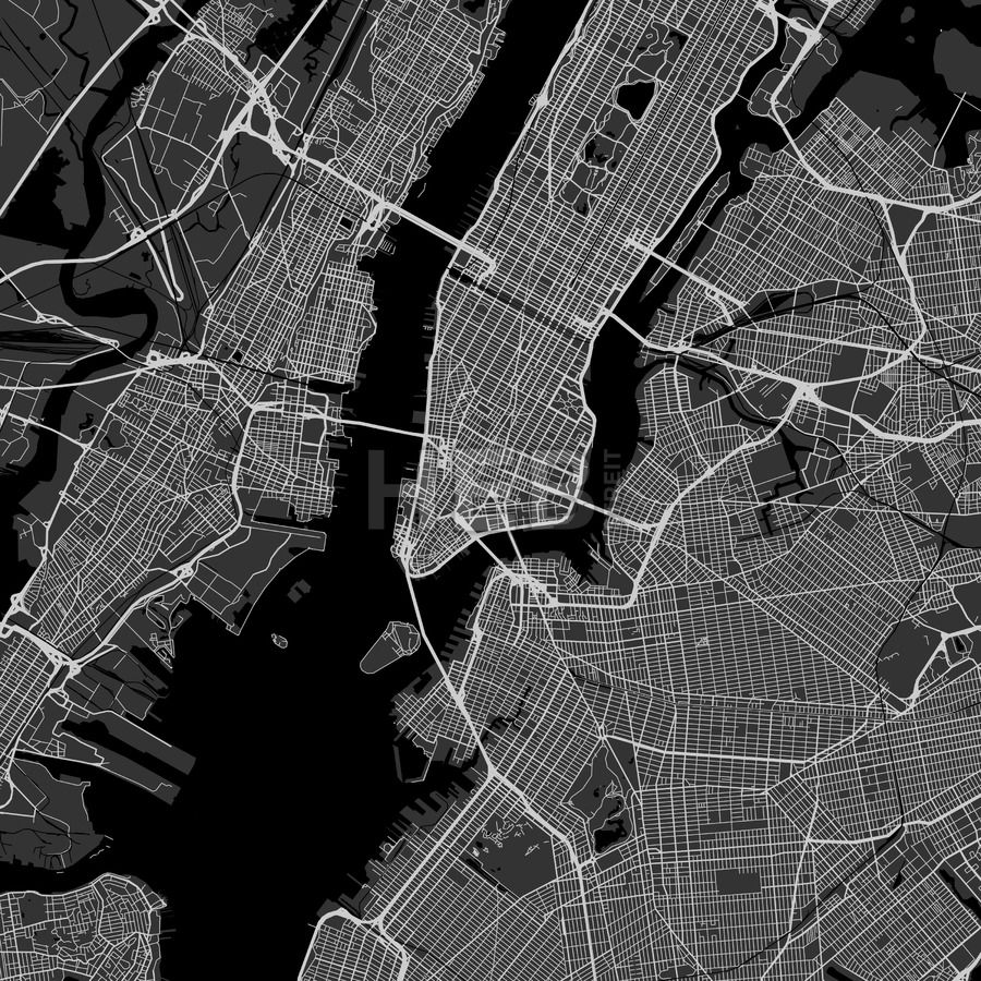 New York City downtown and surroundings Map