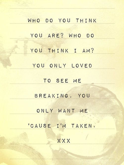 Taken ~ One Direction  This is still one of my favorite songs by