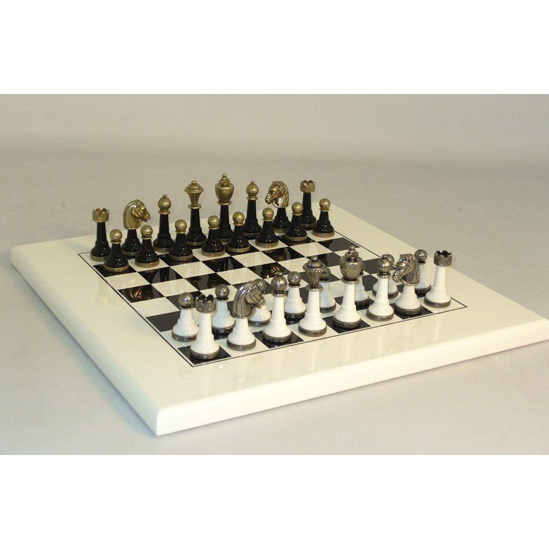 Metal and Wood Chess Set on Black/White Painted Board - 141BN-WB