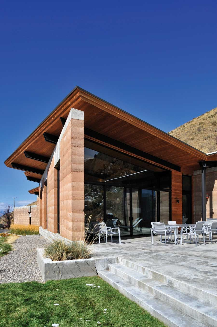Modern Earth A Rammed Earth House in Wyoming in 2019  little homes  Rammed earth Rammed