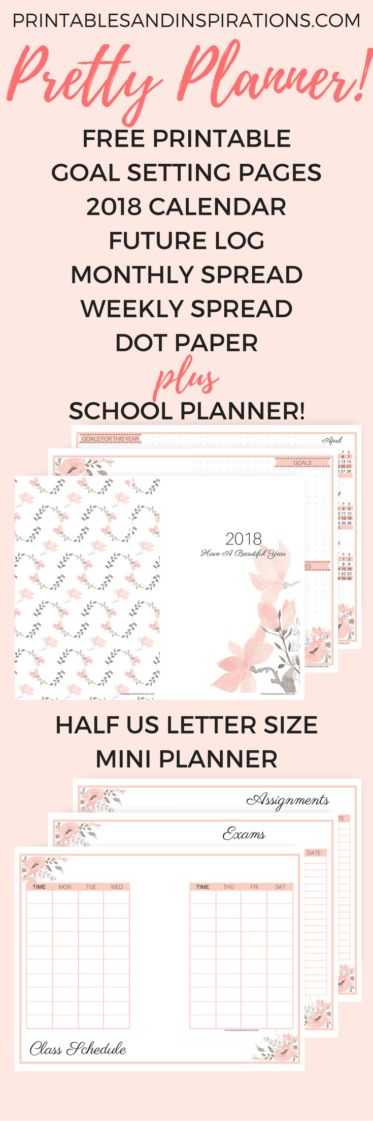 free printable pretty 2018 planner and 2018 calendar, monthly planner, weekly planner spread, future log, school planner, bullet journal, bujo, mini planner pages, floral calendar