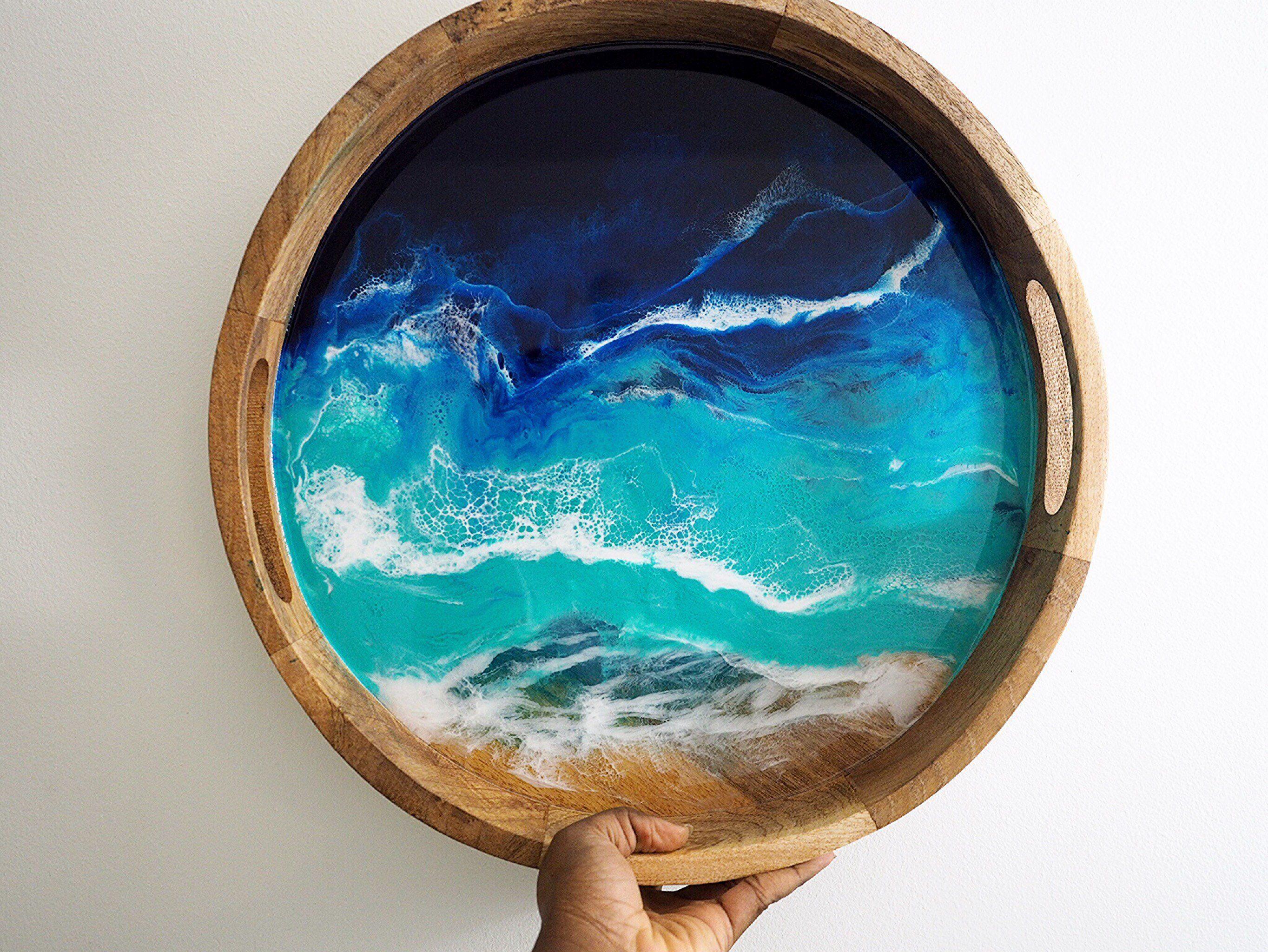 Ocean beach serving decorative tray 15 inches handmade