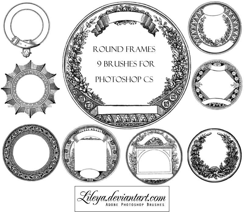 Vintage Round Frames Hi Res Photoshop Brushes Round Frames Photoshop Brushes Photoshop