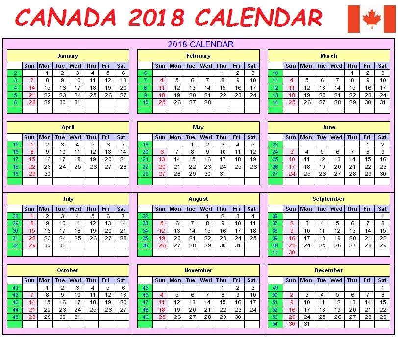 canada 2018 holidays calendar