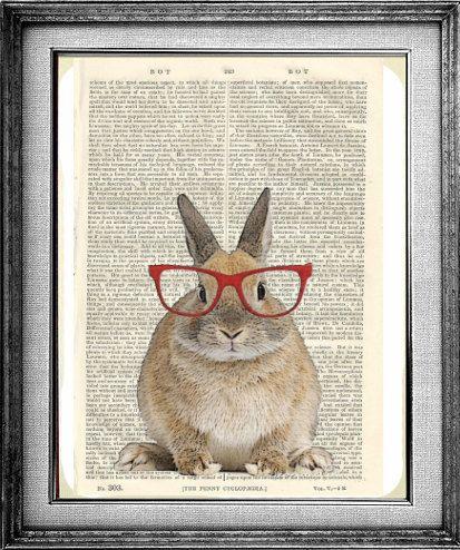 Rabbit Print, Rabbit Poster, Bunny Print, Bunny Art, Geekery,  Wall Decor Poster Dorm Room Print, Dictionary Print, Encyclopedia Art Print