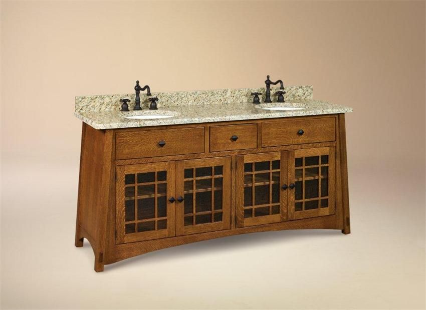 Amish 72 mccoy mission double vanity cabinet bathroom - Mission style bathroom accessories ...