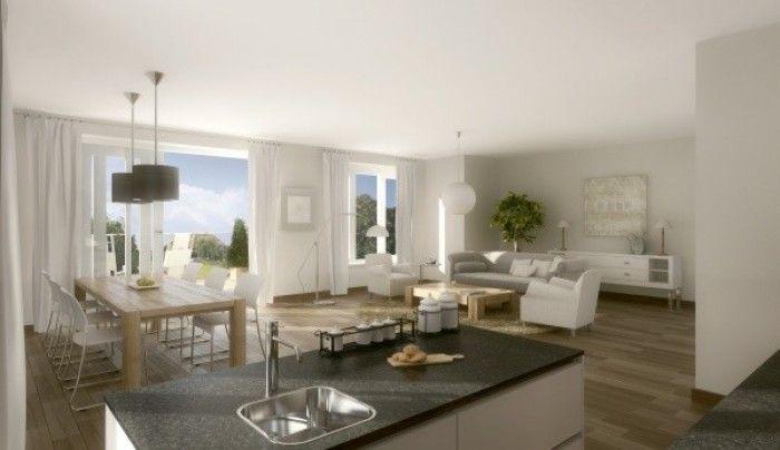 woonkamer met half-open keuken | intrieur | Pinterest