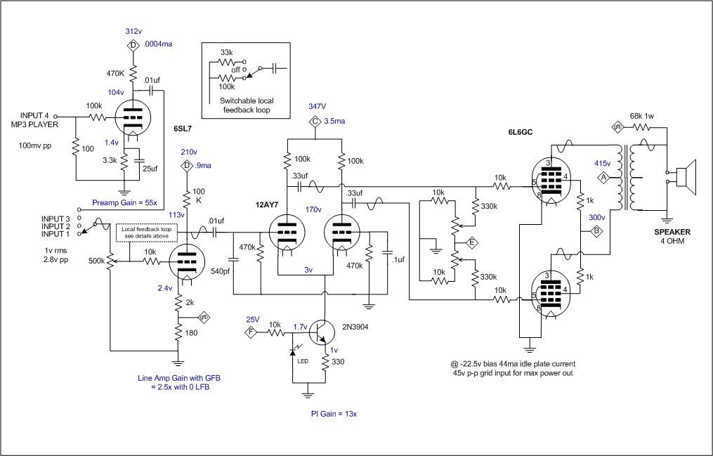 vacuum tube amplifier circuit diagram