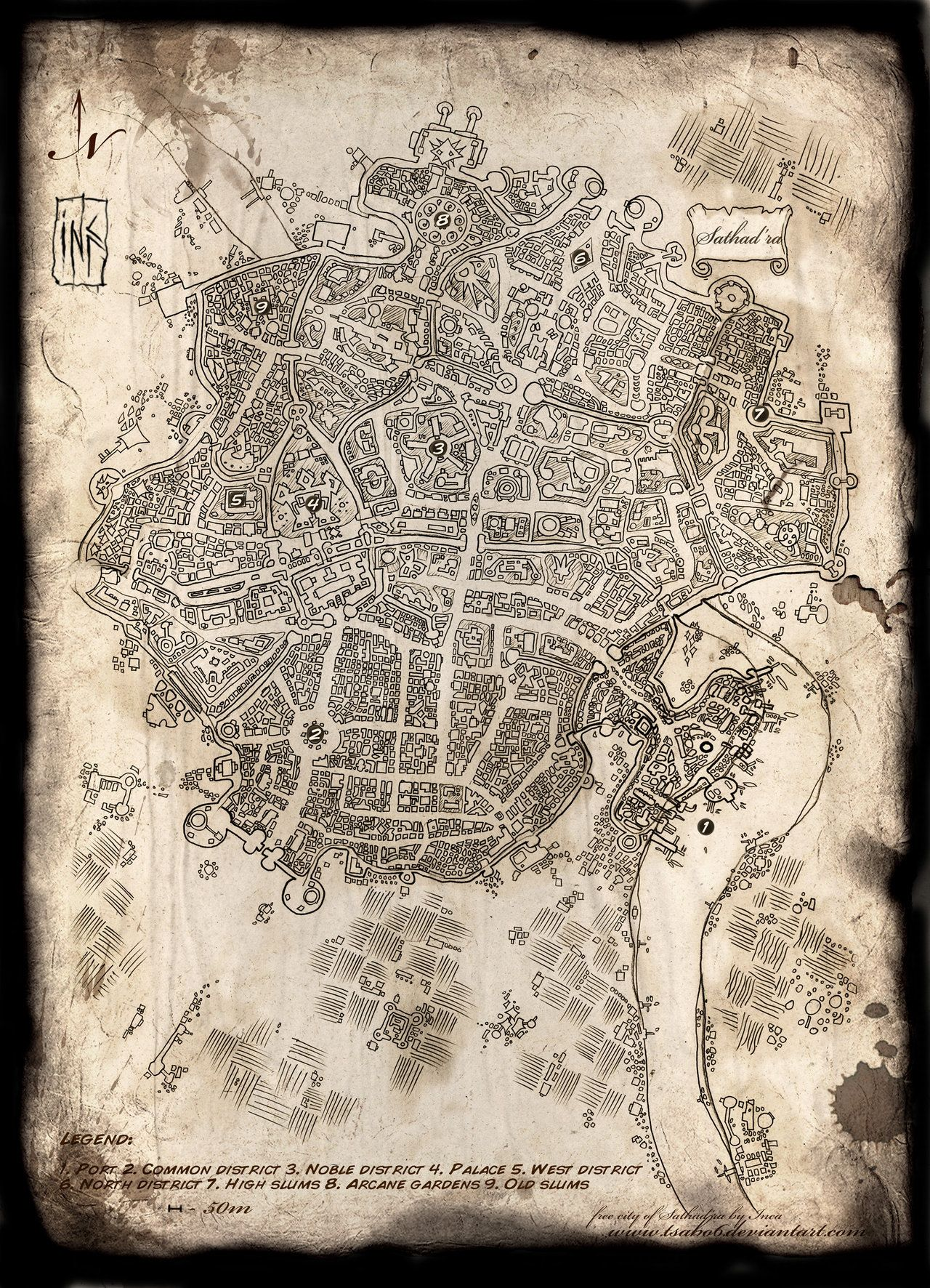 .. pencil linework 5+ hours photoshop tweaking and textures 2 hours .. textures by me. free textures in my gallery .. Character concepts from the same world here: .. Map of free city of Sathad'ra f...