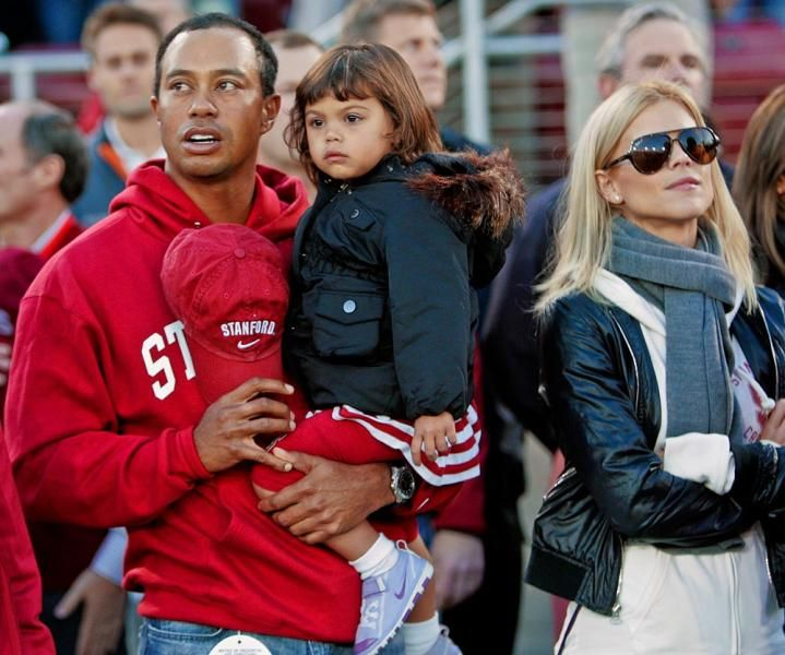 tiger woods daughter  sam  and wife  elin