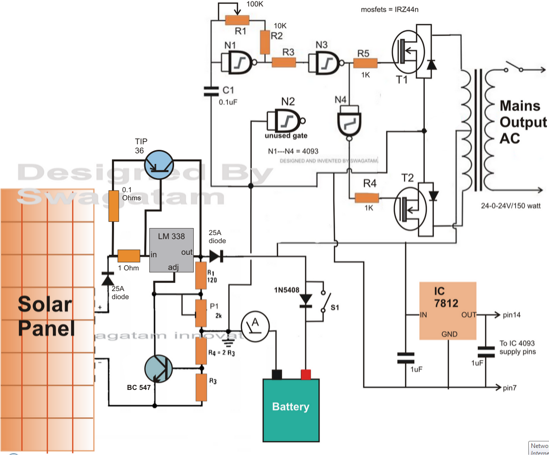electronic circuit projects how to make a solar inverter circuit rh pinterest com solar power electrical wiring diagram  [ 1088 x 902 Pixel ]