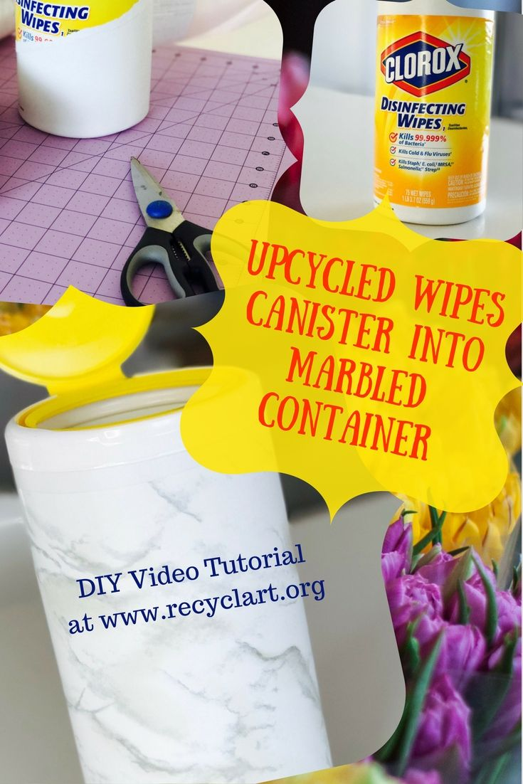 Diy Video Tutorial Marbled Disinfecting Wipes Bottle