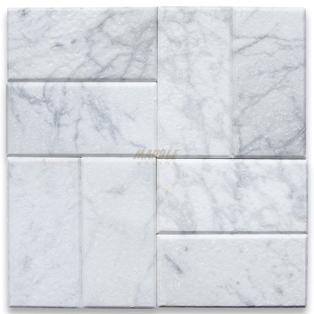 Carrara white 3x6 subway tile tumbled marble from italy sku carrara white marble subway tile tumbled traditional floor tiles by stone center online dailygadgetfo Gallery