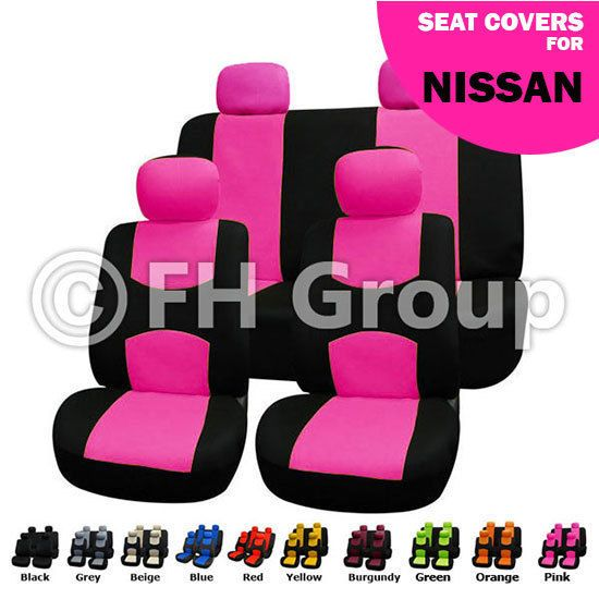 Pink Black Flat Cloth Auto Seat Covers Full Set For Nissan